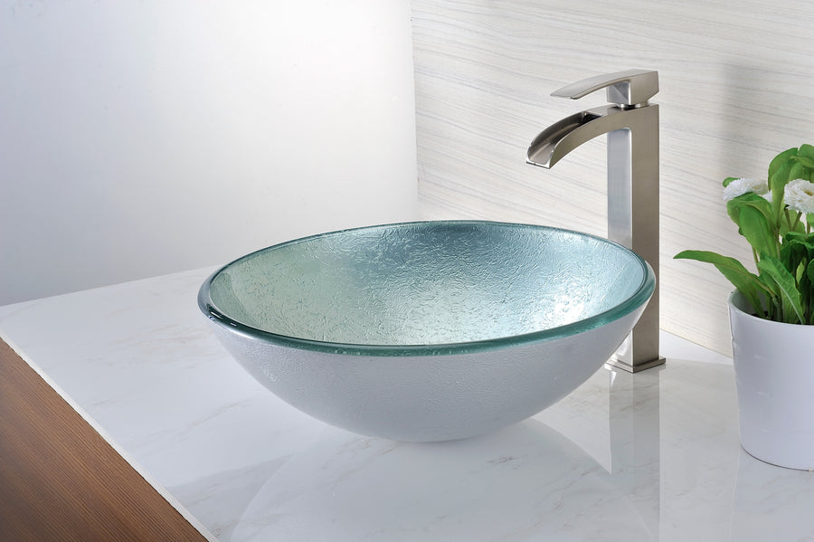 Spirito Series Deco-Glass Vessel Sink in Churning Silver