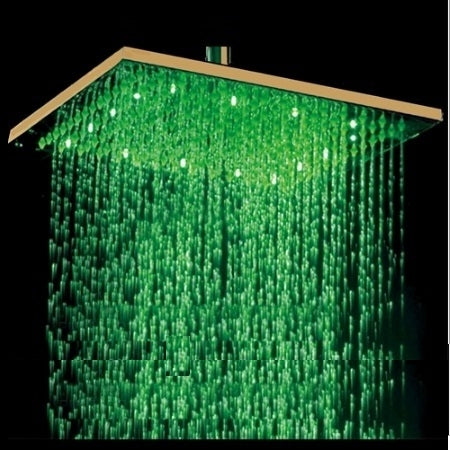 "Fontana 12"" or 16"" Gold Plated Square LED Rain Shower Head (Solid Brass)"