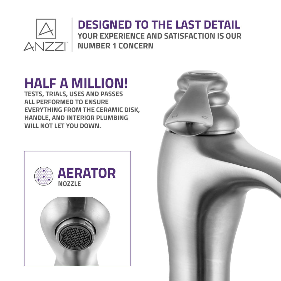 Anfore Single Hole Single Handle Bathroom Faucet in Brushed Nickel