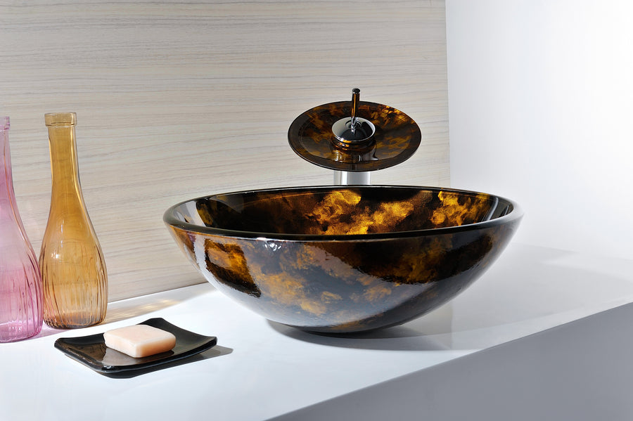 Timbre Series Deco-Glass Vessel Sink in Kindled Amber with Matching Chrome Waterfall Faucet