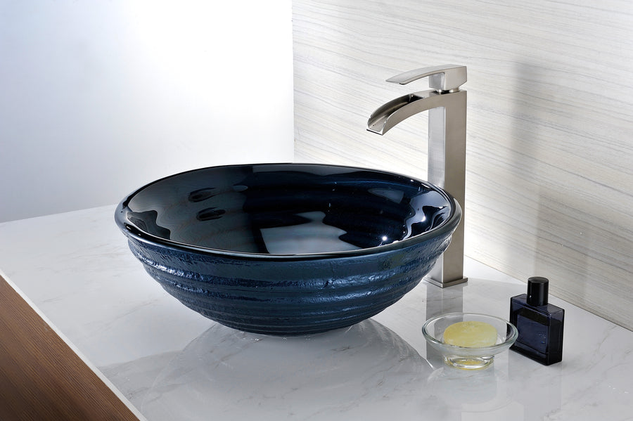 Tempo Series Deco-Glass Vessel Sink in Coiled Blue