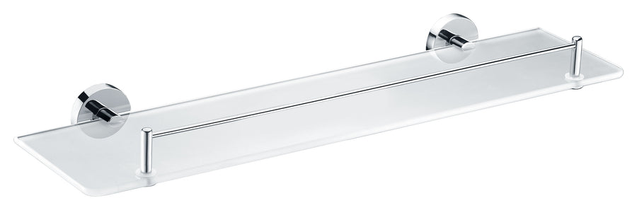 Caster Series 5.24 in. W Glass Shelf in Polished Chrome
