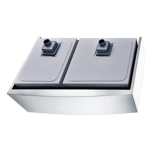 Elysian Farmhouse Stainless Steel 33 in. 0-Hole 60/40 Double Bowl Kitchen Sink in Brushed Satin