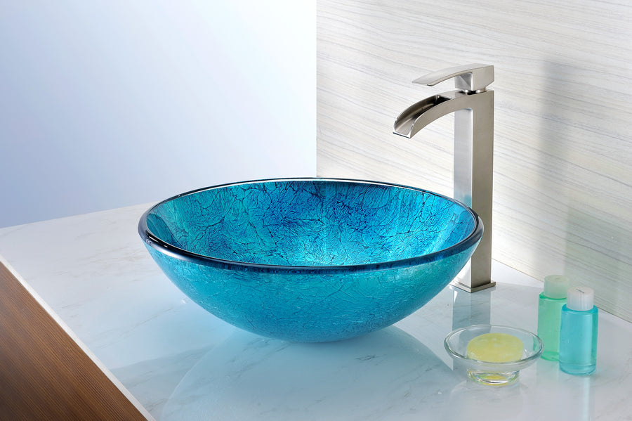 Accent Series Deco-Glass Vessel Sink in Blue Ice