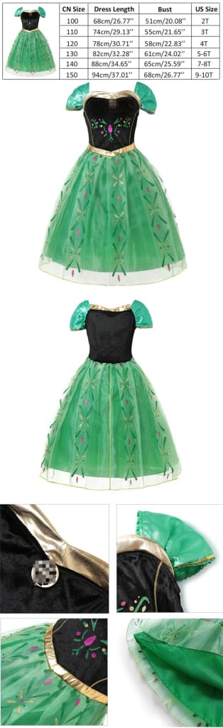 Queen Elsa Anime Dress up Costume for Girl Princess Party