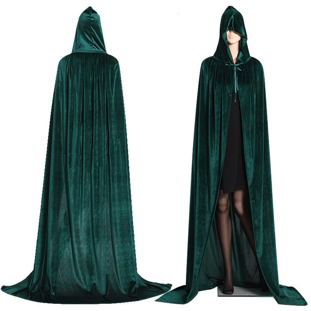 Gothic Hooded Stain Cloak Wicca Robe Witch Larp Cape Women