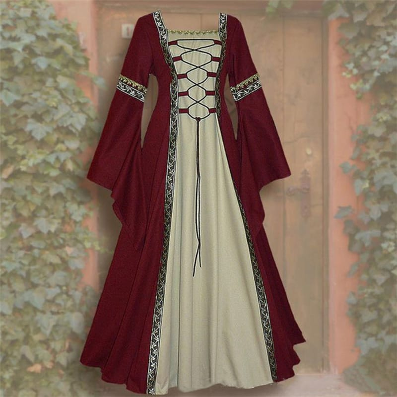 Gothic Medieval Dress Cosplay Carnival Halloween Costume for