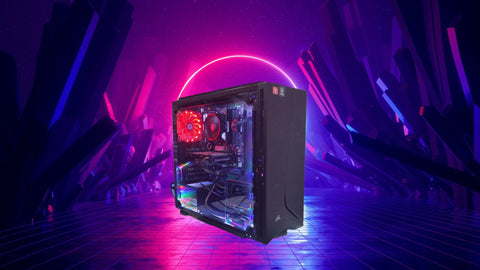 Low tier gaming computer with cool tech background, blog-gaming pc expensive than console, benefits of a gaming pc