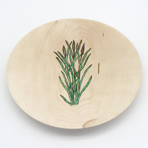 Plate in Beech With Flower Decoration