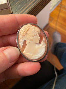 Sterling Italian Shell Cameo Set