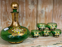 Load image into Gallery viewer, Hand Painted Green Decanter Set