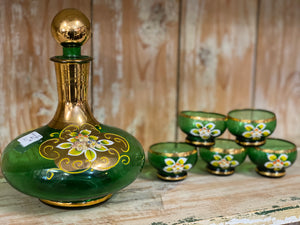 Hand Painted Green Decanter Set