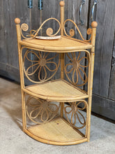 Load image into Gallery viewer, Rattan Bamboo Corner Shelf