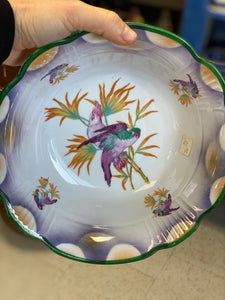 German Painted Bowl with Parrot/Bird