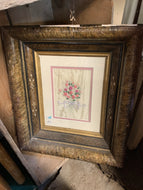 Floral Embroidery with Wood Framed