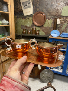 Copper Cream & Sugar Serving Set