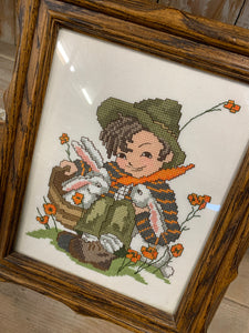 Cross Stitch Boy With Bunnies
