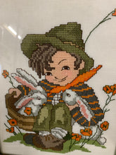 Load image into Gallery viewer, Cross Stitch Boy With Bunnies