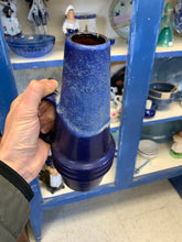 Load image into Gallery viewer, Scheurich West German Blue Drip Glaze Pottery Vase