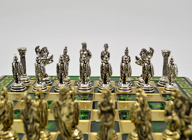 Greek War Chess Set - Green