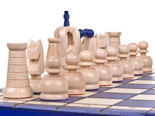 "Medium Wooden Chess Set In Blue color, 12"" x 12"""