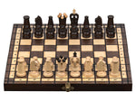 "Small Wooden Chess Set In Brown color, 12"" x 12"""