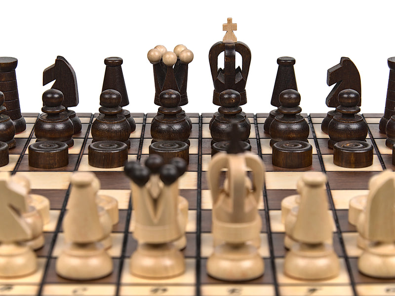 "Medium Wooden Chess & Checkers Set In Brown color, 12"" x 12"""