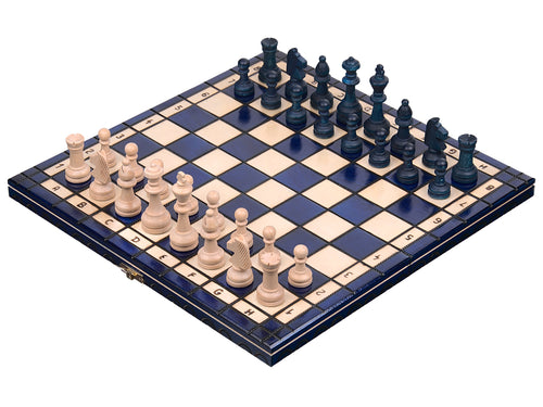 "Medium Wooden Chess & Checkers Set In Blue color, 13.77"" x 13.77"""