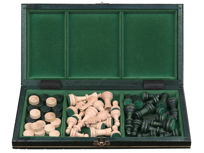 "Medium Wooden Chess & Checkers Set In Green color, 13.77"" x 13.77"""