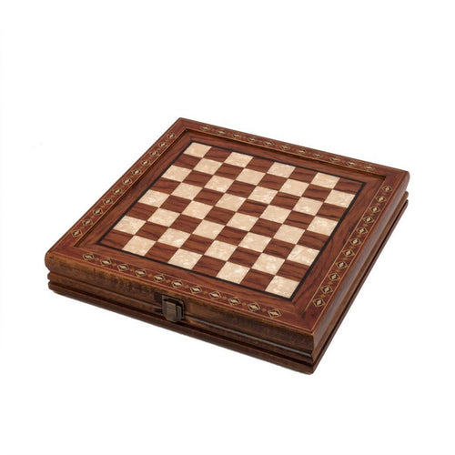 12'' Wood & Metal Chess Set - Brazilian