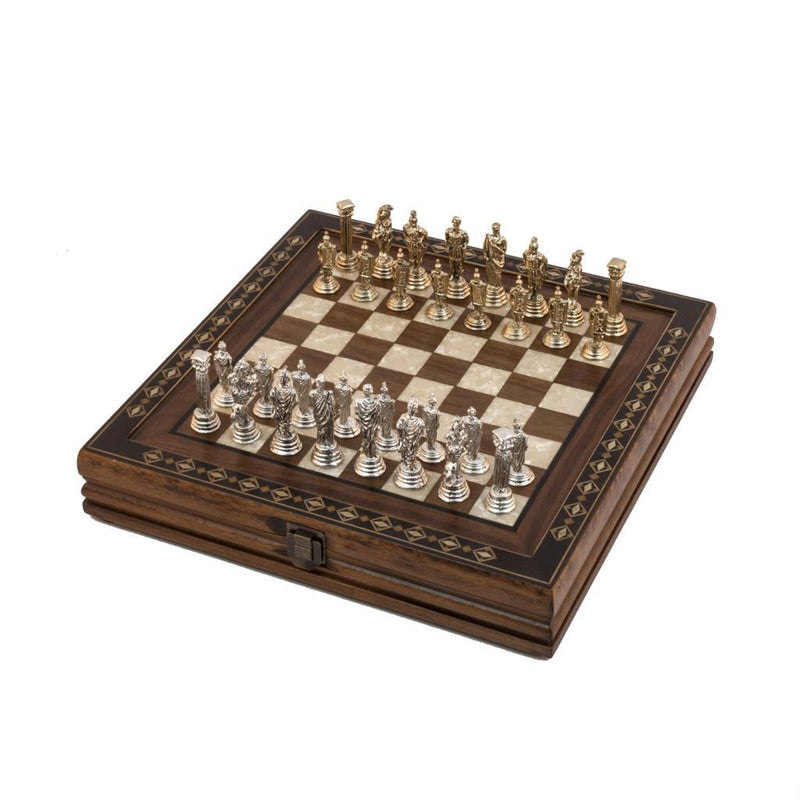 12'' Wood & Metal Chess Set - Brown