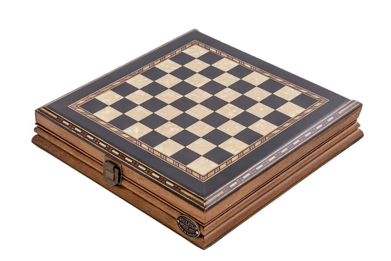 10'' Wood & Metal Chess Set - Black