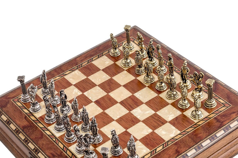 10'' Wood & Metal Chess Set - Brazilian