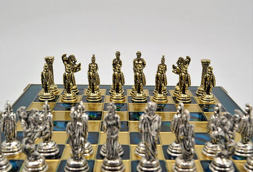 Greek Chess Set - Blue Board