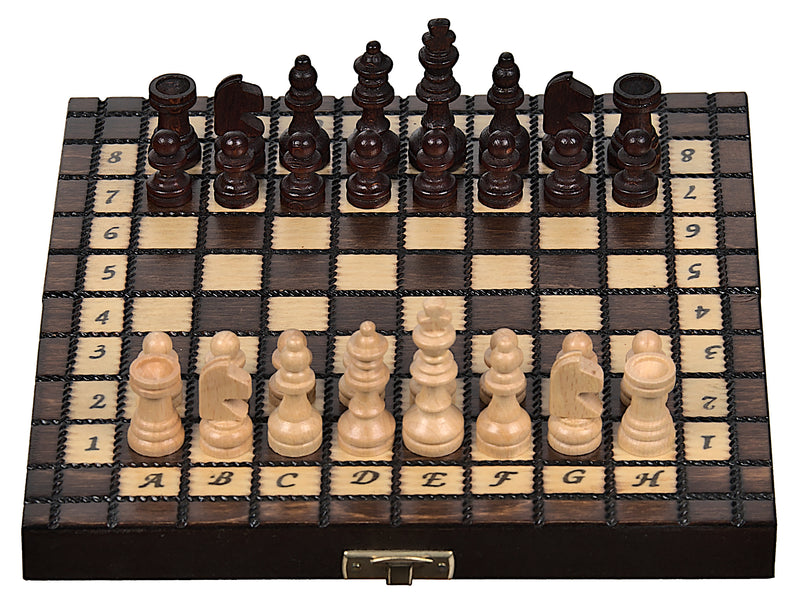 "Mini Wooden Chess Set In Brown color, 7.87"" x 7.87"""