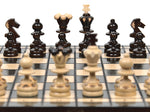 "Handmade Wooden Chess Set, 13,6"" x 13,6"", Brown"