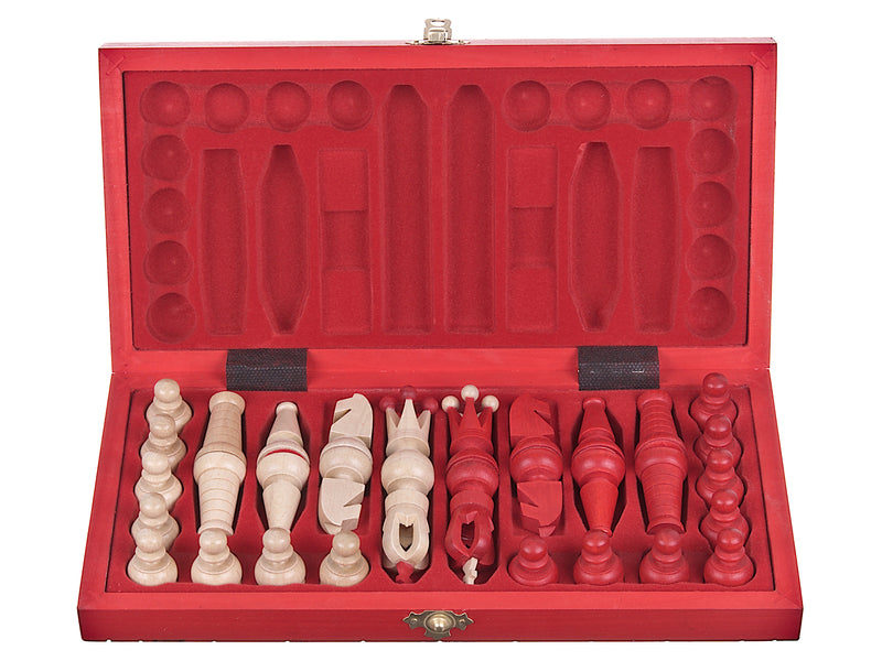 "Medium Wooden Chess Set In Red color, 12"" x 12"""