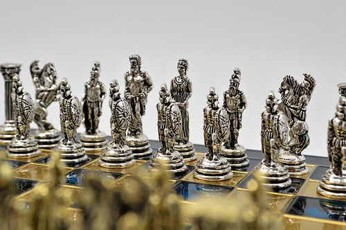Greek War Chess Set - Blue