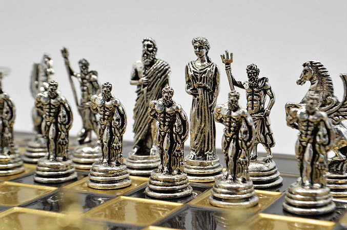 Hercules Chess Set - Brown Board