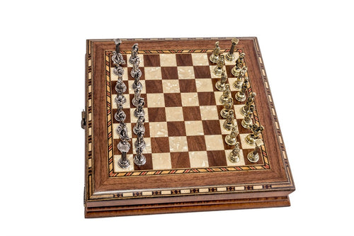 10'' Wood & Metal Chess Set - Brown