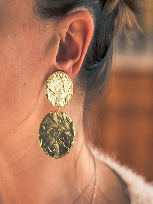 Black Daisy Earrings Double Discs Statement Earring