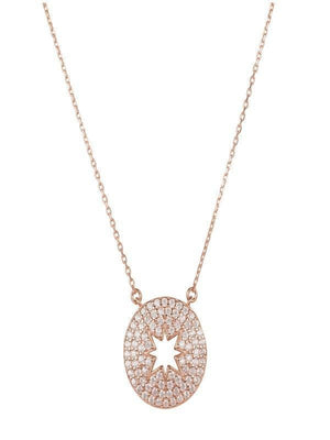 Gold Misty Accessories Open Star Disc Pendant Necklace Rosegold