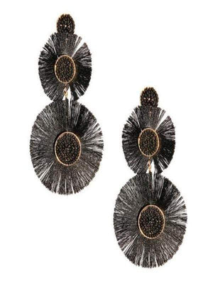 Ivory Aether Jewelry & Watches 4 inches / Black Gold and Black Fan Tassel Earrings