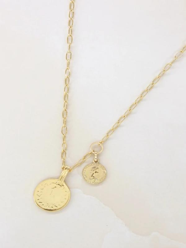 Orange Charlie Necklaces 18k Gold Plated Simplicity Coin & Chain Necklace