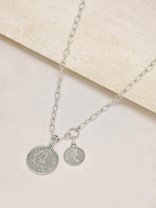 Orange Charlie Necklaces Rhodium Simplicity Coin & Chain Necklace