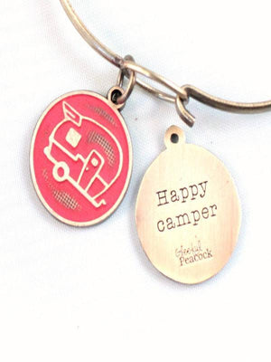 Orange Pine Jewelry & Watches Happy Camper Token Charm Bracelet or Necklace