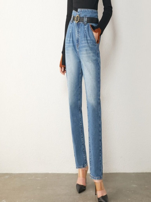 High-waist cotton jeans are ankle-length straight trousers