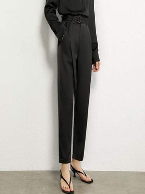 Rosaline black pant / XL Satin suit consisting of a LO top and high waist pants