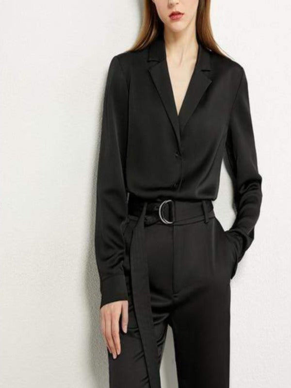 Rosaline black shirt / L Satin suit consisting of a LO top and high waist pants