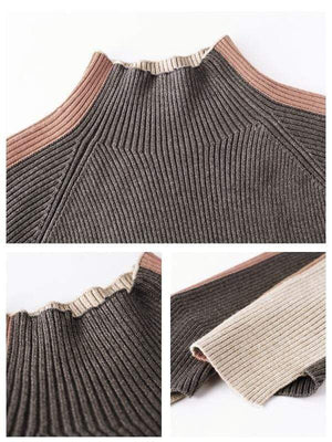 Rosaline blouse Contrast striped turtleneck sweater knitted